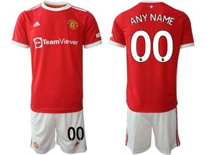 Mens Kids 21-22 Soccer Club Manchester United Custom Made Red Home Short Sleeve Suit Jersey