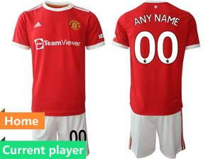 Mens Kids 21-22 Soccer Club Manchester United Current Player Red Home Short Sleeve Suit Jersey