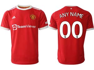Mens 21-22 Soccer Club Manchester United Custom Made Red Home Thailand Short Sleeve Jersey