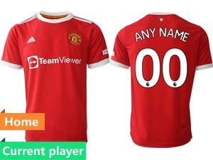 Mens 21-22 Soccer Club Manchester United Current Player Red Home Thailand Short Sleeve Jersey