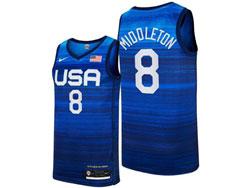 Mens 2021 Nba Usa #8 Middleton Blue Olympic Edition Nike Jersey