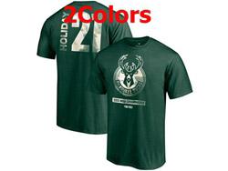 Mens Nba Milwaukee Bucks #21 Jrue Holiday 2021 Nba Finals Champions T Shirt Jersey 2 Colors