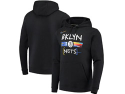 Mens Nba Brooklyn Nets Pullover Hoodie Jersey With Pocket Black Color
