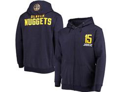 Mens Nba Denver Nuggets #15 Nikola Jokic Zip Hoodie Jacket With Pocket Navy Color