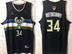 Mens Nba Milwaukee Bucks #34 Giannis Antetokounmpo Black 2021 Nba Finals Champions Jordan Jersey