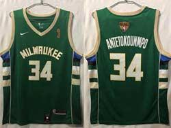 Mens Nba Milwaukee Bucks #34 Giannis Antetokounmpo Green 2021 Nba Finals Champions Jordan Jersey
