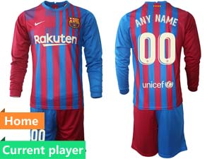 Mens 21-22 Soccer Barcelona Club Current Player Red And Blue Stripe Home Long Sleeve Suit Jersey