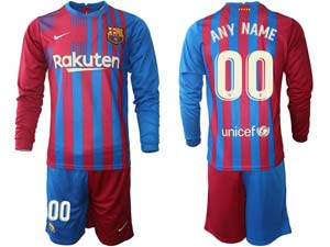 Mens 21-22 Soccer Barcelona Club Custom Made Red And Blue Stripe Home Long Sleeve Suit Jersey