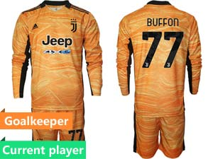 Mens Kids 21-22 Soccer Juventus Club Current Player Goalkeeper Long Sleeve Suit Jersey 3color