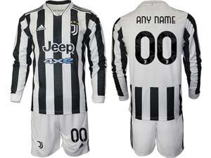 Mens 21-22 Soccer Juventus Club Custom Made White Black Stripe Home Long Sleeve Suit Jersey