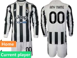 Mens 21-22 Soccer Juventus Club Current Player White Black Stripe Home Long Sleeve Suit Jersey