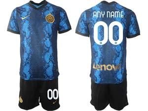 Mens 21-22 Soccer Inter Milan Club Custom Made Blue Home Short Sleeve Suit Jersey