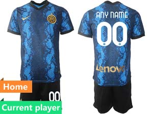 Mens 21-22 Soccer Inter Milan Club Current Player Blue Home Short Sleeve Suit Jersey