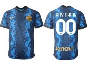Mens 21-22 Soccer Inter Milan Club Custom Made Blue Home Thailand Short Sleeve Jersey