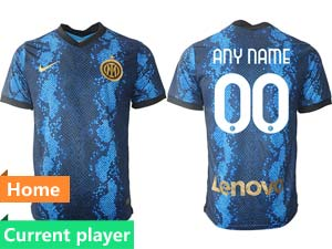 Mens 21-22 Soccer Inter Milan Club Current Player Blue Home Thailand Short Sleeve Jersey