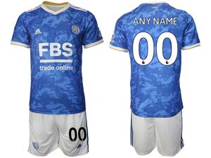 Mens 21-22 Soccer Leicester City Club Custom Made Blue Home Short Sleeve Suit Jersey
