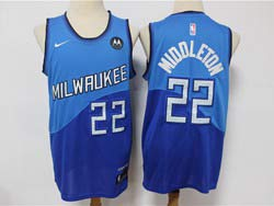 Mens Nba Milwaukee Bucks #22 Khris Middleton Blue 2021 City Edition New Patch Swingman Nike Jersey