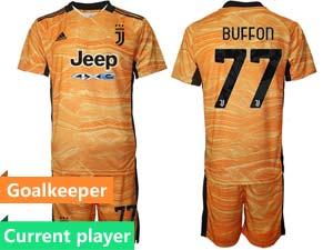 Mens Kids 21-22 Soccer Juventus Club Current Player Goalkeeper Short Sleeve Suit Jersey 3color