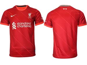 Mens 21-22 Soccer Liverpool Club Custom Made Red Home Thailand Short Sleeve Jersey