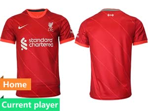 Mens 21-22 Soccer Liverpool Club Current Player Red Home Thailand Short Sleeve Jersey