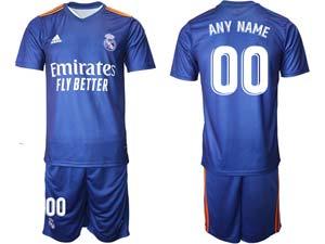 Mens Kids 21-22 Soccer Real Madrid Club Custom Made Blue Away Short Sleeve Suit Jersey