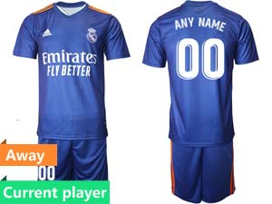 Mens Kids 21-22 Soccer Real Madrid Club Current Player Blue Away Short Sleeve Suit Jersey