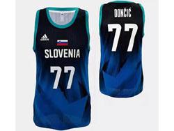Mens Nba Slovenia Team #77 Luka Doncic Dark Blue 2020 Tokyo Olympics Adidas Jersey