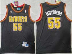 Mens Nba Denver Nuggets #55 Dikembe Mutombo Black Hardwood Classics Mesh Jersey