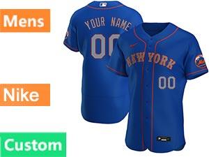 Mens New York Mets Custom Made Blue Alternate Road Nike 2021 Flex Base Jersey