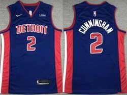 Mens Nba Detroit Pistons #2 Cade Cunningham Blue Nike Swingman Jersey