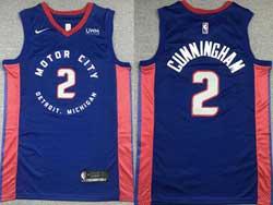 Mens Nba Detroit Pistons #2 Cade Cunningham Blue City Edition Nike Swingman Jersey