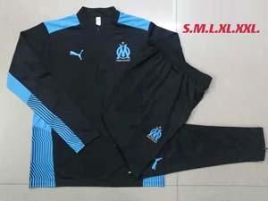 Mens 21-22 Olympique De Marseille Club Half Zipper And Black Sweat Pants Training Suit 2colors