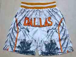 Mens Nba Dallas Mavericks White Printing Mitchell&ness Pocket Shorts