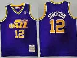 Mens Nba Utah Jazz #12 John Stockton Purple 1991-92 Hardwood Classics Swingman Jersey