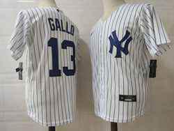 Mens Mlb New York Yankees #13 Joey Gallo White Stripe Cool Base Nike Jersey
