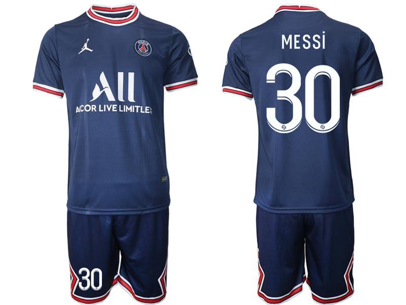 Mens Kids 21-22 Soccer Paris Saint Germain #30 Messi Blue Home Short Sleeve Suit Jersey