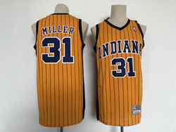 Mens Nba Indiana Pacers #31 Reggie Miller Yellow Hardwood Classics Swingman Jersey