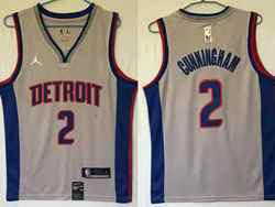 Mens Nba Detroit Pistons #2 Cade Cunningham Gray Swingman Jordan Jersey
