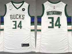 Mens Nba Milwaukee Bucks #34 Giannis Antetokounmpo White M Patch Nike Jersey