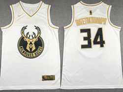 Mens Nba Milwaukee Bucks #34 Giannis Antetokounmpo White Golden Nike Jersey