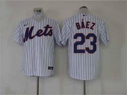 Mens Mlb New York Mets #23 Javier Báez White Stripe Cool Base Nike Jersey