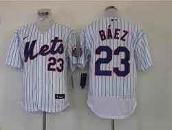 Mens Mlb New York Mets #23 Javier Báez White Stripe Flex Base Nike Jersey