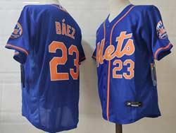 Mens Mlb New York Mets #23 Javier Báez Blue Flex Base Nike Jersey