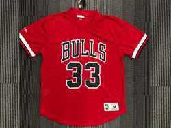 Mens Nba Chicago Bulls #33 Scottie Pippen Red Mitchell&ness Hardwood Classics Pullover Mesh Jersey
