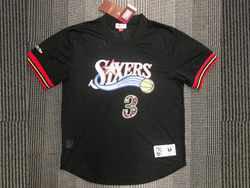 Mens Nba Philadelphia 76ers #3 Allen Iverson Black Mitchell&ness Hardwood Classics Pullover Mesh Jersey