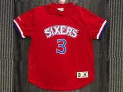 Mens Nba Philadelphia 76ers #3 Allen Iverson Red Mitchell&ness Hardwood Classics Pullover Mesh Jersey