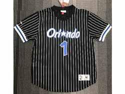 Mens Nba Orlando Magic #1 Anfernee Hardaway Black Mitchell&ness Hardwood Classics Pullover Mesh Jersey