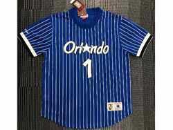 Mens Nba Orlando Magic #1 Anfernee Hardaway Blue Mitchell&ness Hardwood Classics Pullover Mesh Jersey