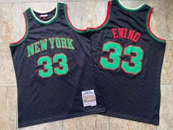 Mens Nba New York Knicks #33 Patrick Ewing Black 91-92 Mitchell&ness Hardwood Classics Jersesy
