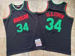 Mens Nba Houston Rockets #34 Hakeem Olajuwon Black 93-94 Mitchell&ness Hardwood Classics Jersesy